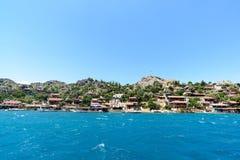 Turkey, Kalekoy - 20.06.2015. Kalekoy or Simena  village on  Turkish island of Kekova Stock Photography