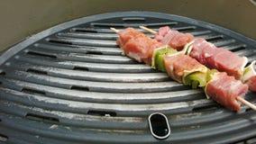 Turkey kebabs put on the grill. Turkey kebabs on wooden sticks put on the grill stock footage