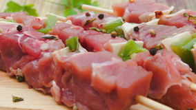 Turkey kebabs on sticks with vegetables and cheese. Turkey kebabs on wooden sticks with vegetables and cheese stock footage