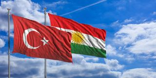 Turkey and Kurdistan flags wave under a blue sky with many white clouds. 3d illustration. Turkey and Kurdistan relations. Turkey and Kurdistan flags wave under a Royalty Free Stock Photo