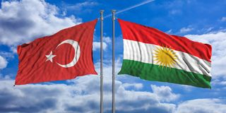 Turkey and Kurdistan flags wave opposite under a blue sky with many white clouds. 3d illustration. Turkey and Kurdistan relations. The opposite wave of Turkey Stock Photography