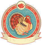 Turkey label on old paper texture. Royalty Free Stock Photo