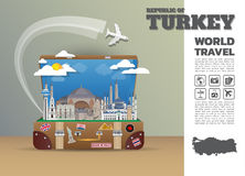Turkey Landmark Global Travel And Journey Infographic luggage.3D. Design Vector Template.vector/illustration. can be used for your business, advertisement or Stock Photos