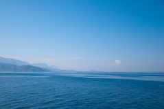 Turkey landscape with blue sea, sky, green hills and mountains Stock Photos