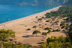 Turkey landscape from Cirali. Turkey landscape with blue sea, beautiful beachб green hills and forest Royalty Free Stock Photos
