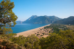 Turkey landscape from Cirali. Turkey landscape with blue sea, sky, green hills and mountains, forest Royalty Free Stock Images