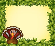 A turkey in a leafy frame border Royalty Free Stock Photos