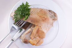Turkey leg. On a plate with fork and knife Stock Images