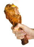 Turkey Leg On Male Hand. Over White Stock Photos