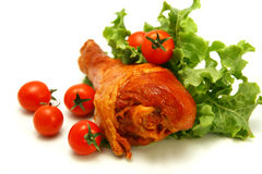 Turkey leg with tomatoes and lettuce Royalty Free Stock Photography