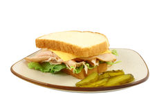 Turkey Lettuce And Cheese Sandwich Stock Photos
