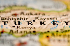 Turkey Map. Close up of Turkey in a map stock images
