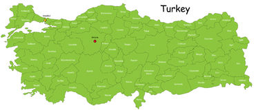 Turkey map. Designed in illustration with regions colored in green colors. Vector illustration stock illustration