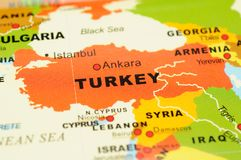 Turkey on map Stock Photo