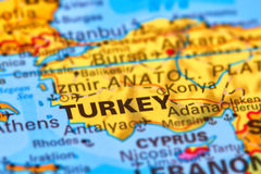 Turkey on the Map. Turkey, Country in Europe and Asia on the World Map royalty free stock photography