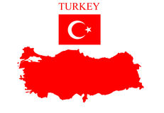 Turkey map with flag Royalty Free Stock Image