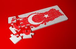 Turkey Map with Flag as Puzzle Stock Photography