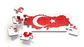 Turkey Map with Flag as Puzzle Royalty Free Stock Photos