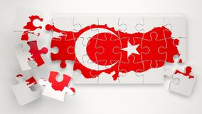 Turkey Map with Flag as Puzzle Stock Photo