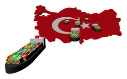 Turkey map flag with container ships Royalty Free Stock Images