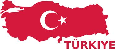 Turkey map with flag with türkiye. Vector Royalty Free Stock Photos