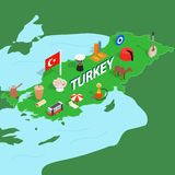 Turkey map, isometric 3d style Royalty Free Stock Images