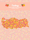Turkey map made out of peaches. Veggie postcard. Turkey map poster or card. Vegetarian postcard. Map of Turkey made out of pink nectarines. Illustration. Series Stock Photo