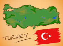 Turkey Map and National Flag Vector Royalty Free Stock Images