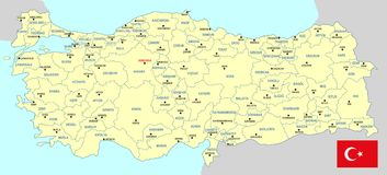Turkey map - cdr format. Turkey map with provinces main cities and flag royalty free illustration