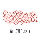 Turkey Map with red hearts - symbol of love. abstract background. Turkey Map with red hearts- symbol of love. abstract background with text We Love Turkey Royalty Free Stock Photography