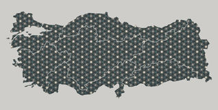 Turkey map with stars and ornaments including borders. Illustration Stock Image