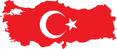 Turkey Map with Turkish Flag Stock Image