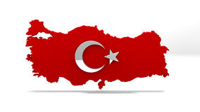 Turkey Map. Turkish Flag Sign. Turkey Country Map Sign. Royalty Free Stock Photo