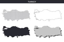 Turkey map vector collection, abstract patterns Stock Images