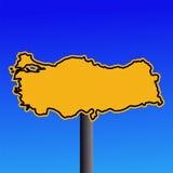 Turkey map warning sign Royalty Free Stock Image