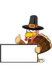 Turkey Mascot - Holding Blank Sign Stock Photo