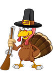 Turkey Mascot - Holding Gun Royalty Free Stock Photo