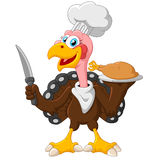 Turkey mascot holding knife Stock Photography
