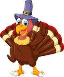 Turkey mascot wearing purple hat and giving thumb up Stock Images