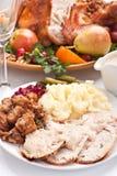 Turkey with Mashed Potato Stock Photography