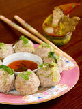 Turkey meat ball. With sauce on plate. Selective focus Royalty Free Stock Photo