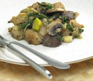 Turkey meat with chicken livers. And mushrooms Stock Image