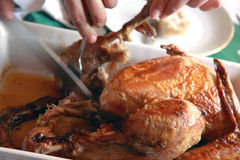 The turkey meat is cut Stock Photo
