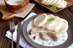 Turkey meat with dill sauce and bread dumpling Stock Image