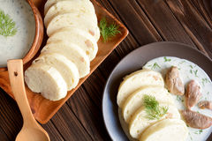 Turkey meat with dill sauce and bread dumpling Royalty Free Stock Photography