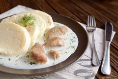 Turkey meat with dill sauce and bread dumpling Royalty Free Stock Photos