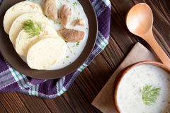 Turkey meat with dill sauce and bread dumpling Stock Images