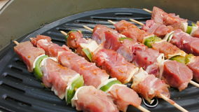 Turkey meat fried on a grill stock footage