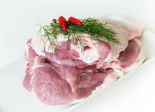 Turkey meat. Haunch part of turkey meat on white background Stock Photo