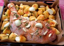 Turkey meat with potatoes. Some raw turkey meat with potatoes, onions and rosemary Stock Image